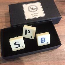 D&D Silver Plated Cufflinks Scrabble S P B