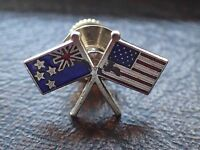 Vintage Retro Enamel Pin Badge With Both The New Zealand flag and American flag