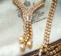 VINTAGE Sparkling Clear Rhinestone Crystal Faux Pearl Tassel Necklace Gift