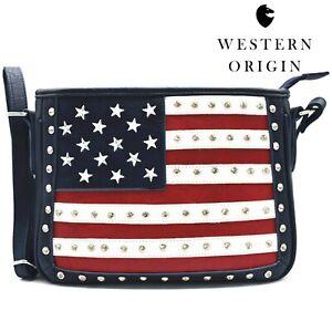American Flag Stars and Stripes Crossbody Handbag Women Purse Studs Shoulder Bag
