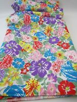 Poly/Cotton Blend Fabric Dress Blouse Large Floral  Pink Purple Blue 3 YDS 60W