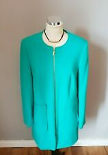 M&S Collection Emerald green collarless zip fastening coat, jacket Size 10