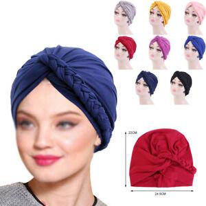 Elastic Cap Solid Braided Twist Turban Hijab Hat Headwear Beanie Beret Headband