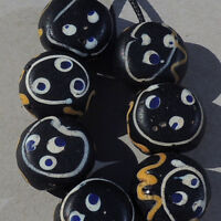 7 old antique venetian baule face beads african trade #1735