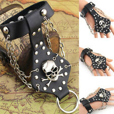 Fashion Rock Skull Finger Ring PU Leather Slave Wristband Punk Bracelet Gothic