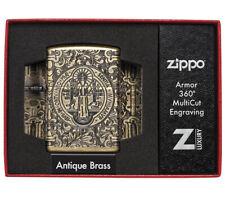 ZIPPO ARMOR 29719 ST. BENEDICT ANTIQUE BRASS 360 MULTICUT EXCLUSIVE LIGHTER