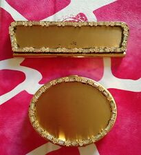 Powder Make Up Compact Case Mirror&Comb Set/Mirror Goldtone Crystal/Rhinstone