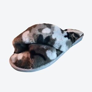 Womens Furry Slippers Size 8-9.5 Leopard Print Cross Plush Gray Slip On Sandals