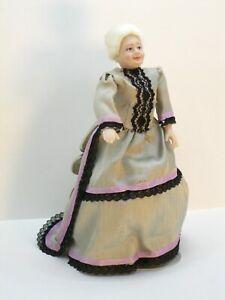 Elder Woman Porcelain Doll in Victorian Gown - Artisan Dollhouse Miniature
