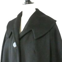 Vintage 1960s NEW OLD STOCK Women's Black Wool Coat Size XL Full Length Sleeves