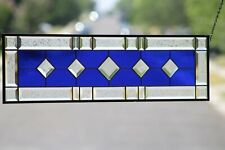 "The Cobalt Contemporary Traditional Beveled Stained Glass Panel≈ 31 3/8"" x 9 1/2"