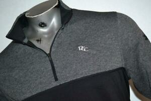 21949-a Mens Under Armour Golf Pullover Zip Size Large Black Gray Polyester