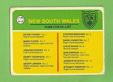SCANLENS 1978 CRICKET CHECKLIST CARD, NEW SOUTH WALES, UNCHECKED
