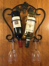Wine Rack- Black metal with leaves and grapes