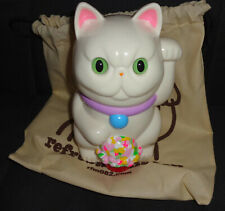 Refreshment Toy Sitting Lucky Cat Sofubi Japanese Vinyl Figure Off White Cream
