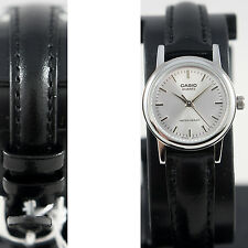 Casio LTP1095E-7A Genuine Silver Ladies Watch Analog Black Leather Band New