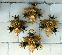 Lot 4 Hollywood regency Wall lights sconces Leaf gold gilt attr. maison jansen