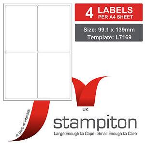 Pk 100 Stampiton Labels 4 Per A4 Sheet L7169*/J7169* Laser/Inkjet Compatible