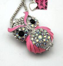 NWT Betsey Johnson Pink Enamel & Diamond White Crystal Owl Pendant Necklace