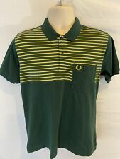 Fred Perry Mens Medium M Green Yellow Oregon Ducks Color S/S Slim Fit Polo Shirt