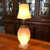 "Antique Forest Pink Glass Shade and Vase Table Lamp, 20"" Tall, 6"" Widest"