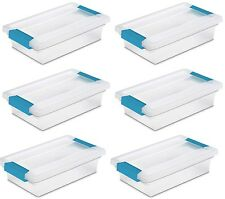 Sterilite Small File Clip Box Clear Storage Containers w/ Lid (6 Pack) 19618606