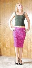 Hot Pink Retro Pinup Leopard Print Knit Pencil Skirt