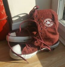Converse Chuck Taylor All Star Hi-Rise Embroidered Trainers - Maroon - Size 5