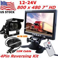"""12V-24V 4Pin 7"""" Vehicle LCD Monitor +Bus Truck Trailer Waterproof Backup Camera"""