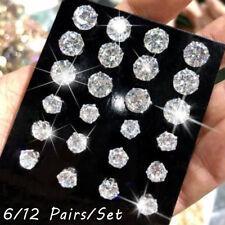 Gift Simple Stud Earrings Set  Silver Alloy Geometric Crystal Round Zircon