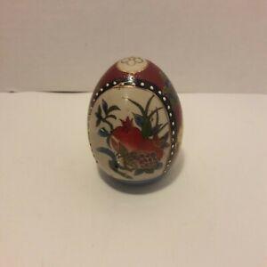 Handmade Painted Red White Beads Pomegranate Decorated Ceramic Egg