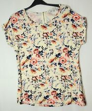IVORY PINK BLUE FLORAL LADIES CASUAL TOP BLOUSE SIZE 14 PEACOCKS STRETCH