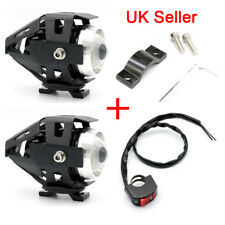 2x Motorcycle Motorbike LED Headlights Driving Fog Spot Lights With Switch 125W