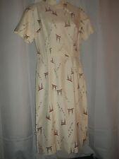 Ladies Sz S / M Vintage Japanese Tower Print Betty Yokosuka Asian Pencil Dress