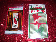 2 New Christmas Decorations 1 Holiday Door Panel 1 Package 9 inch Bells Eureka