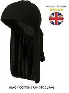 Unisex Cotton Durag Bandana Tie down Sports Du-Rag Scarf Headwear Headband BLACK