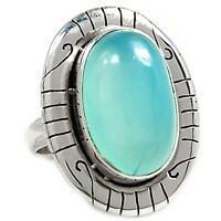 SSS Blue Chalcedony 925 Sterling Silver Ring Jewelry s.6.5 BCDR399
