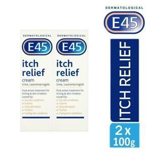 2 x E45 Dermatological Itch Relief Cream Treats Dry,Itchy Skin & Eczema 100g