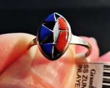 925 STERLING ZUNI GEMSTONE OPEN INLAY RING LAPIS MOP & SPINEY OYSTER Size 7