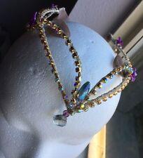 Professional Ballet Tiara Headpiece Crown Purple/Lilac Gold AB Crystal Arabian