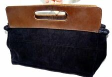 Diesel Black Cord / Real Leather Handbag with blue denim lining