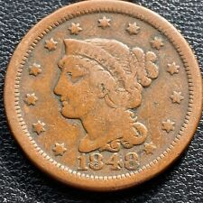 1848 Large Cent Braided Hair One Cent 1c Better Grade #25963