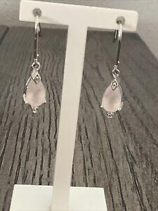NEW 925 Sterling Silver Pear Cut Rose Quartz Dangle Drop Hook Earrings