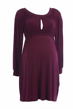 OLIAN Maternity Women's Wine Keyhole Front Gathered Dress XS $130 NEW