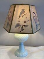 Vintage Ivory Sheldon Swirl Convert Milk Glass Table Lamp Art LaMay Bird Shade