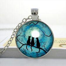 BLUE MOON CAT PENDANT NECKLACE / Chain Glass Silver Jewellery Gift Idea Kitten