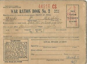WW2 USA War Ration Book No 3 with stamps