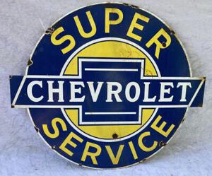 """Enamel """"SUPER CHEVROLET SERVICE"""" Cut Out Sign"""