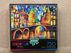 Buffalo Games: Cities In Color Amsterdam 750 Piece Jigsaw, Lovely LN! FREE SHIP!