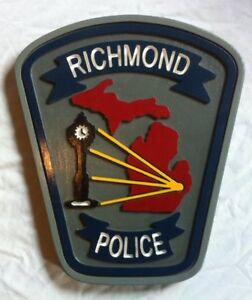 Police Department Richmond 3D routed plaque wood  patch Sign Custom